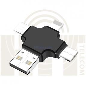Картридер iDragon R005 4 в 1 (lightning, type-c, micro USB, micro SD)