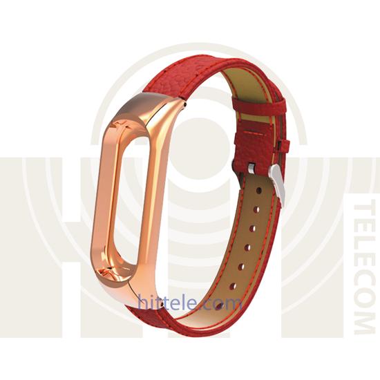 Ремешок для Xiaomi Mi Band 3 Red кожаный