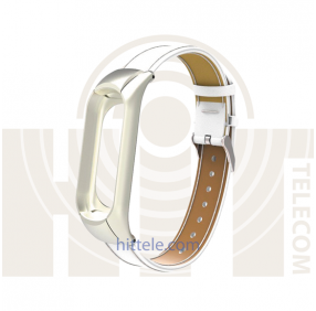 Ремешок для Xiaomi Mi Band 3 White кожаный