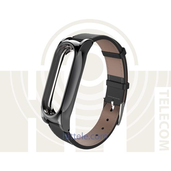 Ремешок для Xiaomi Mi Band 2 Black кожанный