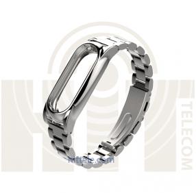 Ремешок-браслет металлический для Mi Band 2 Metal Strap Silver