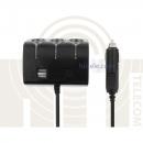 Разветвитель автоприкуривателя USB&THREE SOCKET (1506A)
